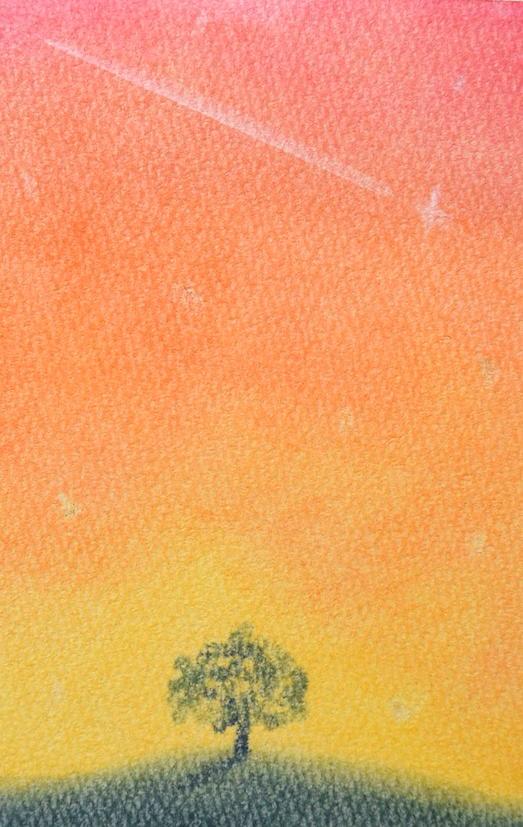 ソフトパステルで描いた夕焼け空の見本