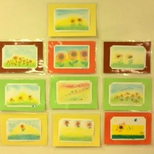 パステルアート作品ひまわり。高齢者施設でレクリエーションをしたときの写真です。