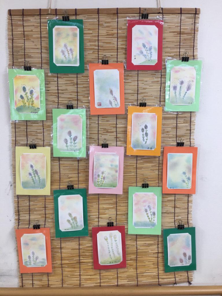 高齢者介護施設アクアピアでのパステルアート教室。15人で春の作品つくしんぼを描きました。