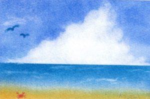 パステルアート体験教室の夏の絵です。もくもくの入道雲と海。