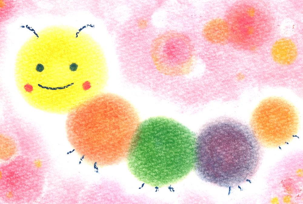 3色パステルアートロゴいもむし