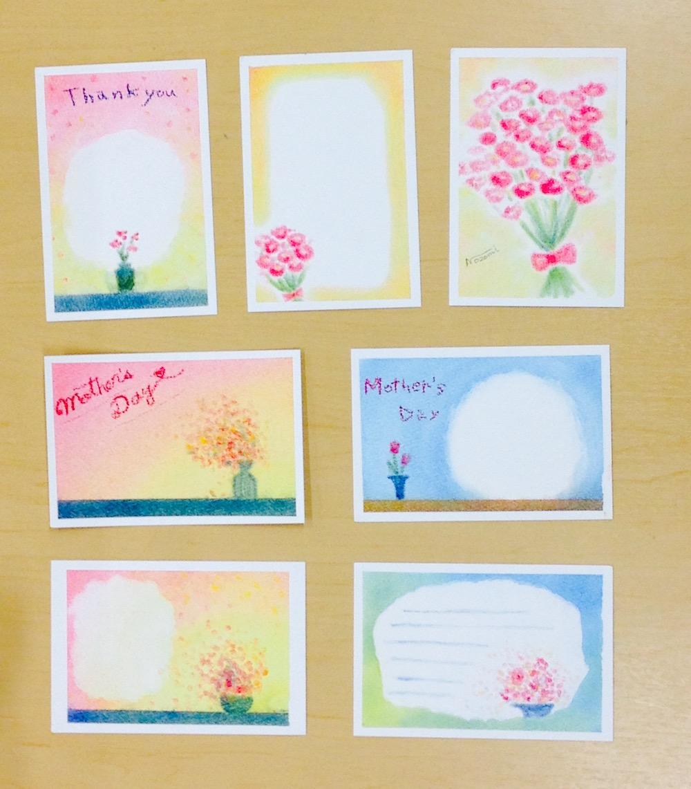 パステルアート春母の日メッセージカード