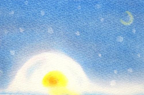 冬にぴったりの鎌倉を3色パステルアートで描いた作品です。