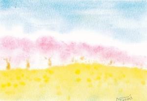 「春の風景画」3色パステルアート