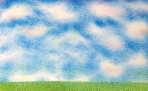「春の丘」3色パステルアート,3月,4月,5月