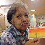 3色パステルアート高齢者認知症レクリエーションにて