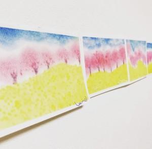 3色パステルアート,パステルアート,春,3月,作品