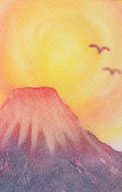 パステルアート冬お正月年賀状の赤富士