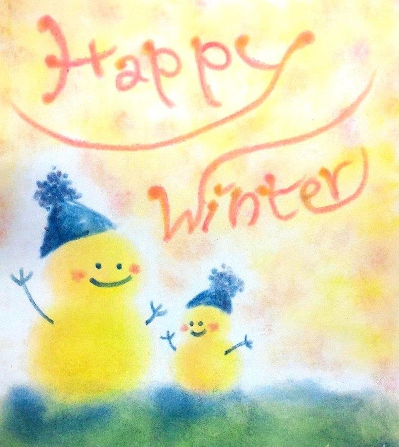 パステルアート作品「雪だるま」。トントン叩くように手を動かして柔らかい質感に仕上げた雪だるまの絵です。