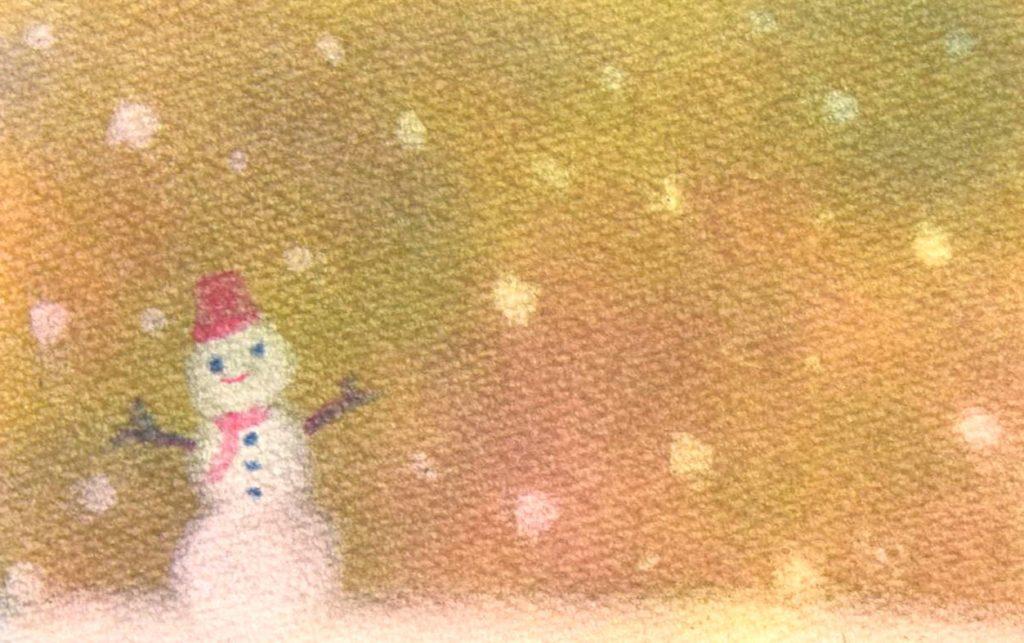 パステルアート冬「雪だるま」