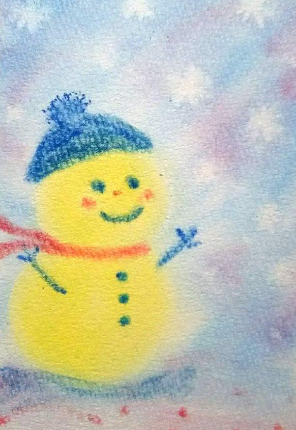 冬の3色パステルアート『雪だるま』