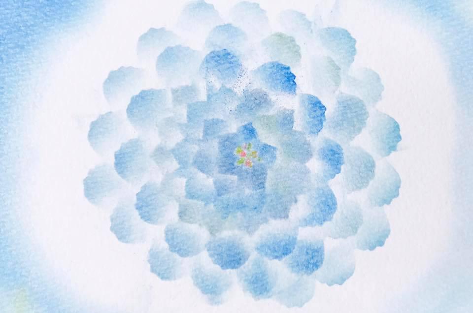3色パステルアート冬の花