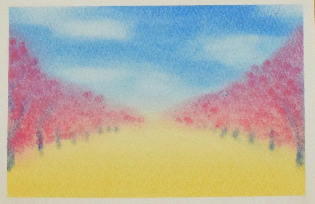 パステルアート桜並木