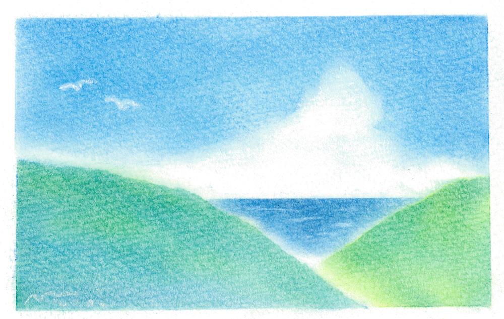 7月パステルアート作品。海の見える風景画。入道雲と青い海、夏らしい爽やかで青々とした山が美しい作品です。