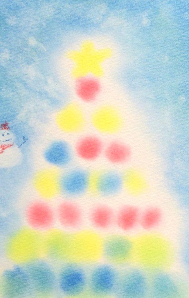 3色パステルアート冬クリスマスツリー
