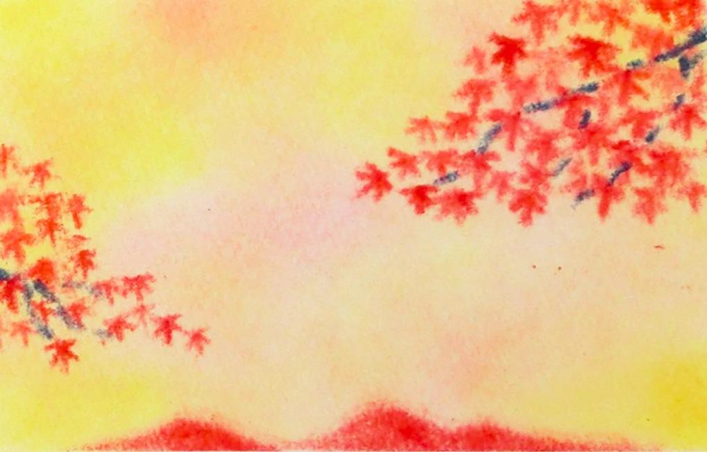3色パステルアートで描いた秋の作品『紅葉』。遠くに見える燃えるような赤の山と、手前の紅葉の葉のコントラストが美しい作品です。