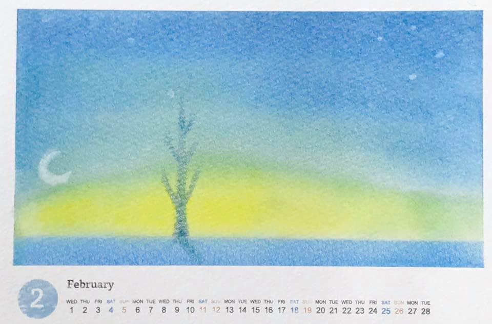 パステルアート冬にカレンダー『冬の夜』青いキリッとした冬らしい空気に差す一本の光…。左側には薄い三日月が見えます。