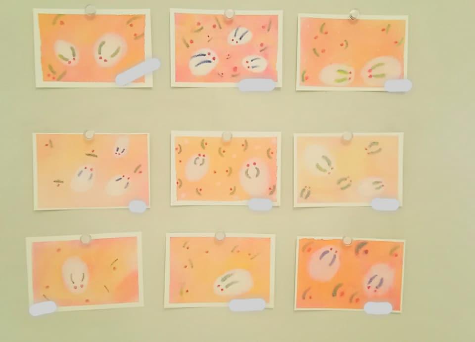 3色パステルアート冬の作品