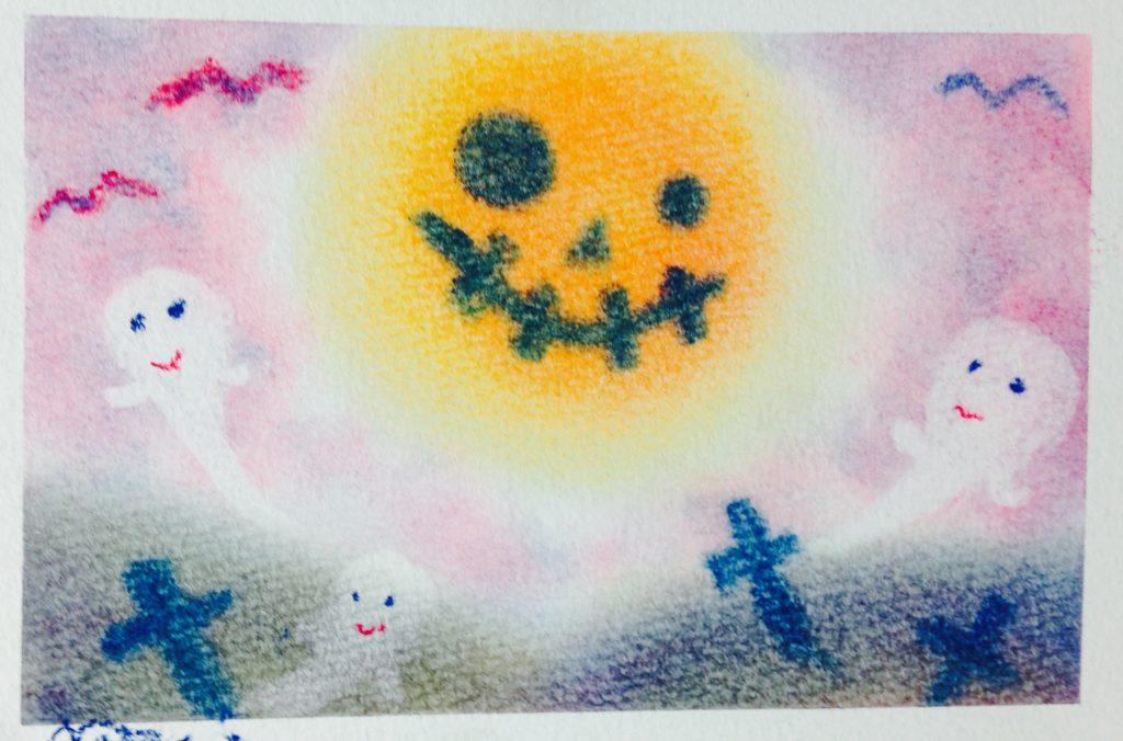 3色パステルアートハロウィンの作品1