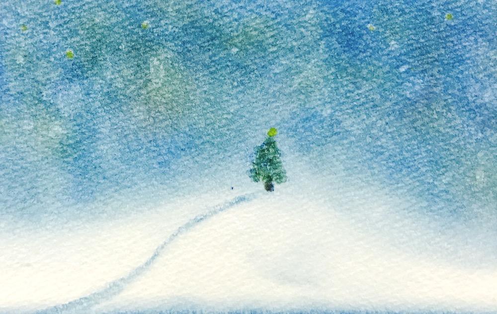 パステルアートクリスマスの作品『聖夜』静かな冬の夜。雪の中凜とたたずむもみの木を描きました。