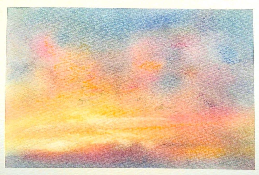 パステルアート秋の作品「夕焼け」