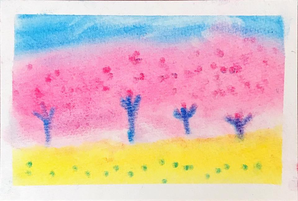 パステルアート子ども8才女の子が描いた春の風景画。桜と菜の花畑の絵です。