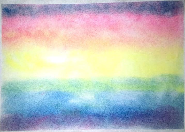 パステルアート子どもの作品。3才の女の子が初めて描いた虹です。