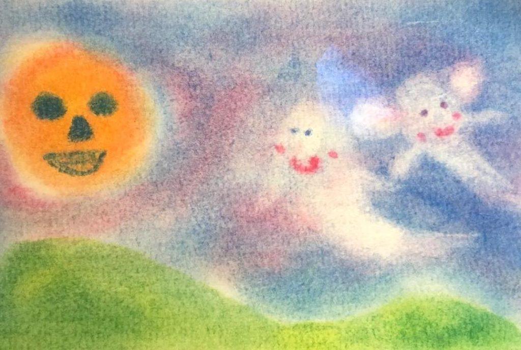 パステルアート子ども4才女の子が描いたハロウィンの作品です。