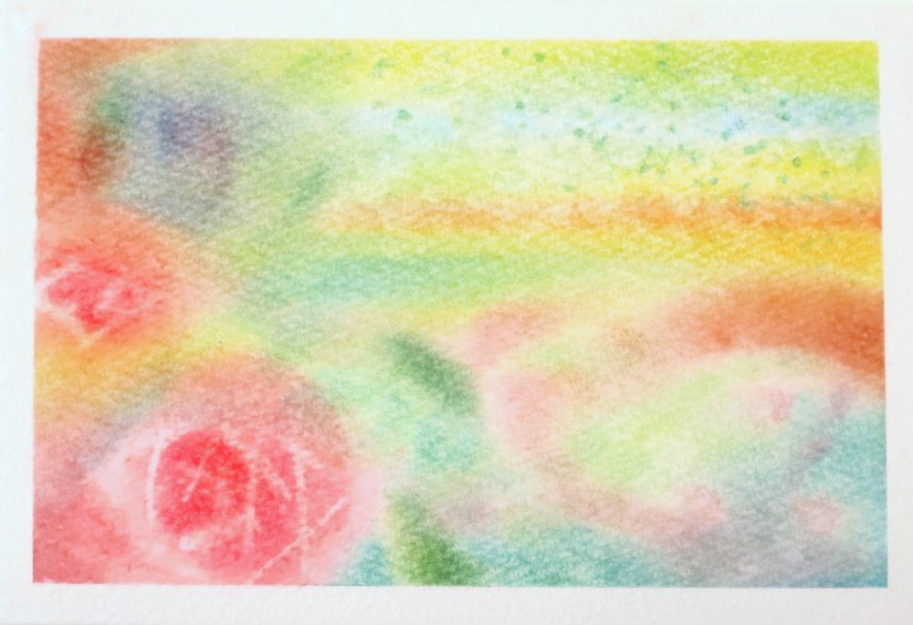 パステルアートでアロマの香りを描くで描いた作品。バラの花、ヒノキの色、清涼感、懐かしさ…香りから感じた質感や色形を抽象画として表現します