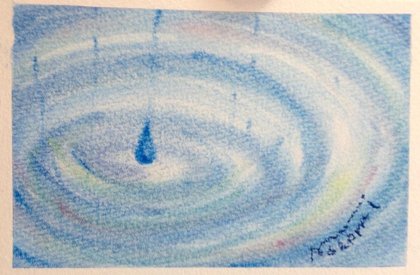 パステルアートで描いた梅雨の代表作です。水たまりに落ちる雫を美しく描きました。