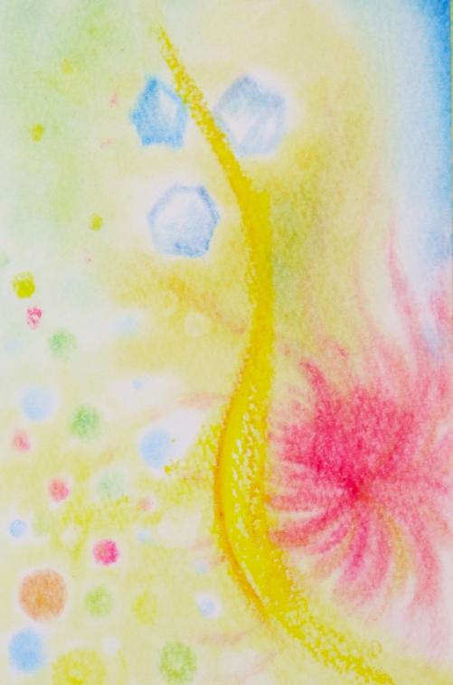 パステルアートで嗅覚を描いた作品です。レモンライム・グレープフルーツ・爽やかさ・男性らしさ・女性らしさなど、感じた色や形質感を絵に落として行きます。