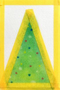 パステルアート描き方『クリスマスツリー』の手順3ツリーに綿棒と練り消しで飾り付けをしました