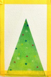 パステルアート描き方『クリスマスツリー』の手順4マスキングテープを剥がしました