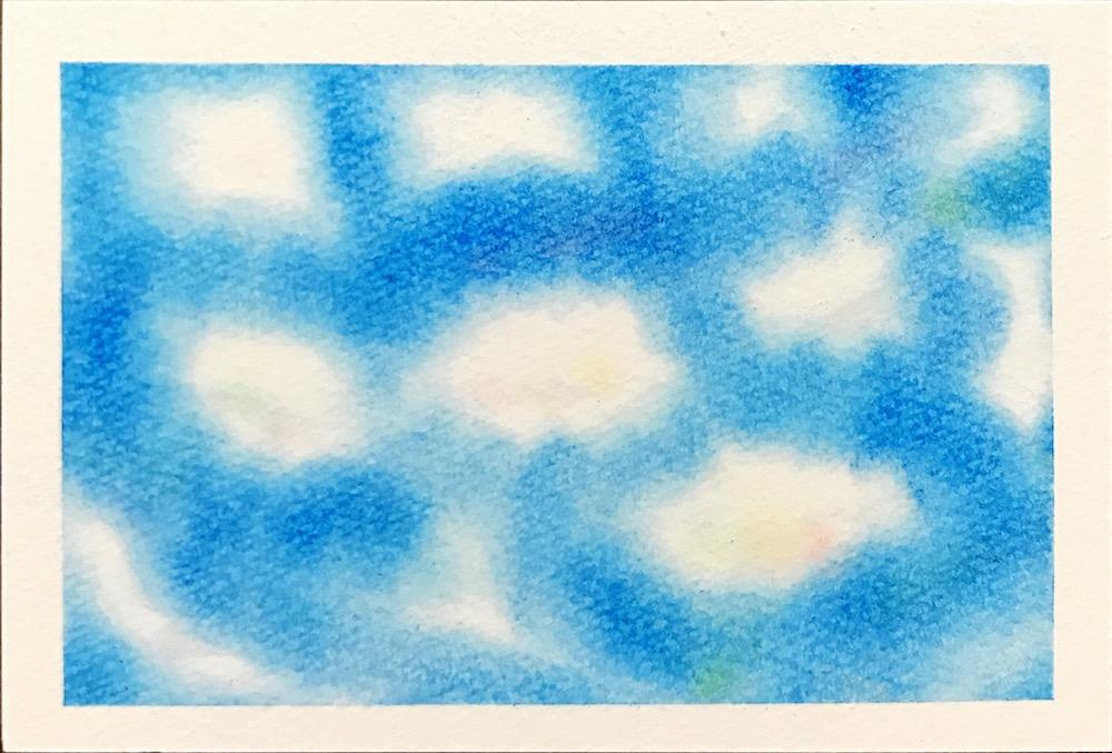 パステルアートの描き方中級編・空と雲・青空に浮かぶ雲を描いた作品