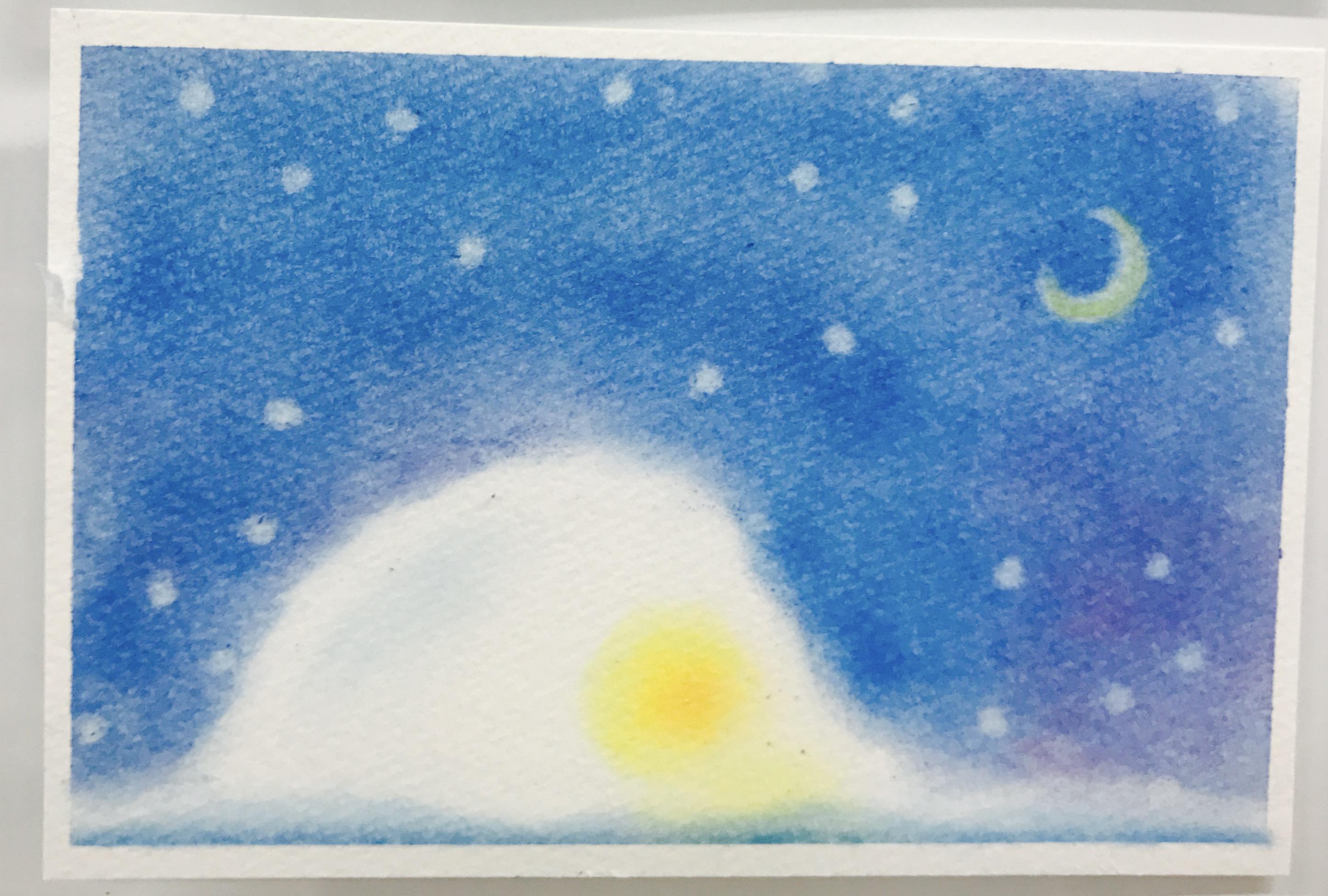 3色パステルアートで描いた冬の作品『かまくら』